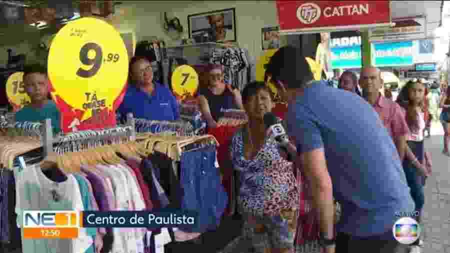Mulher dá em cima de repórter da Globo durante transmissão à véspera do Dia dos Namorados - Reprodução/TV Globo Nordeste
