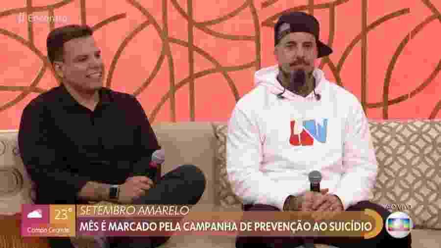 Tico Santa Cruz e Silmar durante o Encontro com Fátima Bernardes - Reprodução/Globo