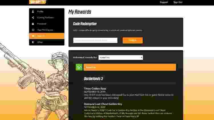No site da Gearbox é possível criar uma conta, linkar sua plataforma de preferência e resgatar códigos Shift - Reprodução