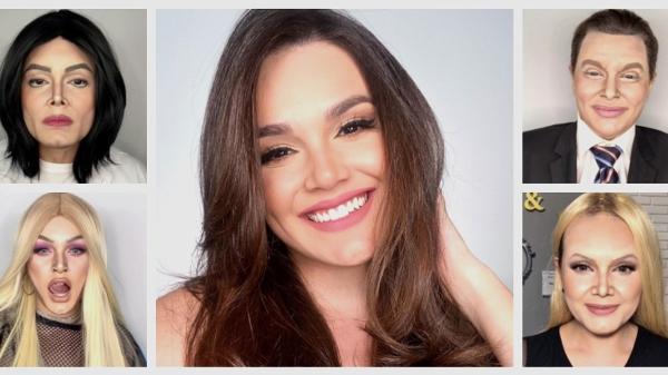 Letícia Gomes usa técnica de maquiagem para se transformar em artistas