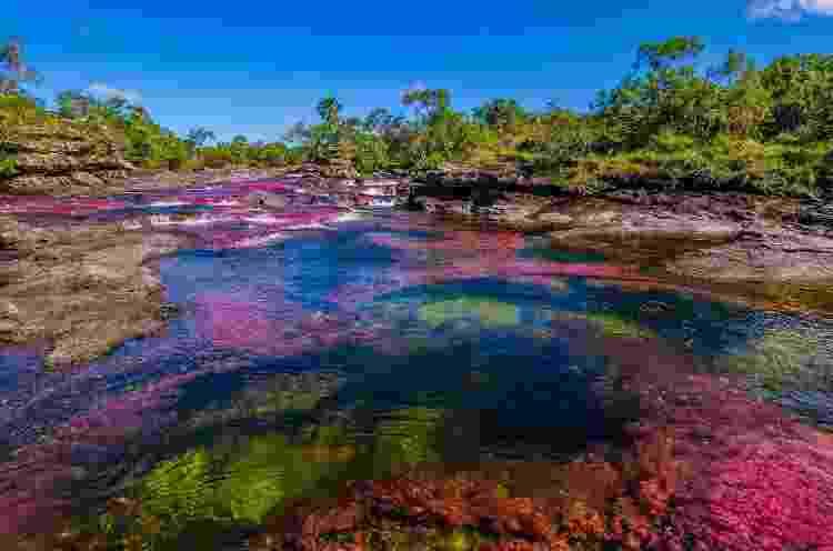 Com a cores do arco-íris: depósitos minerais e planta aquática causam o fenômeno - Getty Images/iStockphoto - Getty Images/iStockphoto