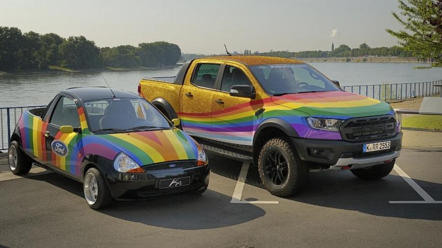 """Ford Ranger Raptor e Ford Ka com pintura """"gay"""" - Divulgação"""