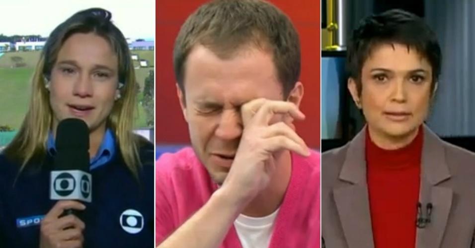Fernanda Gentil, Tiago Leifert e Sandra Annenberg em momentos em que choraram na TV