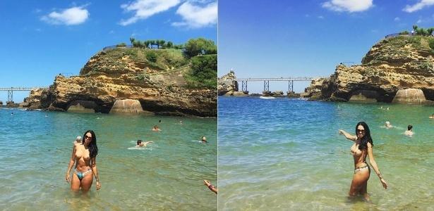 Ex-BBB Ariadna curte praia na França e aproveita para fazer topless