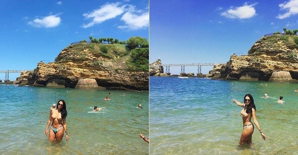 """23.jul.2015 -  De férias, ex-BBB Ariadna faz topless em praia da França e divulga as imagens em sua conta do Instagram. """"Vou terminar de curtir meu dia"""", escreveu a morena"""