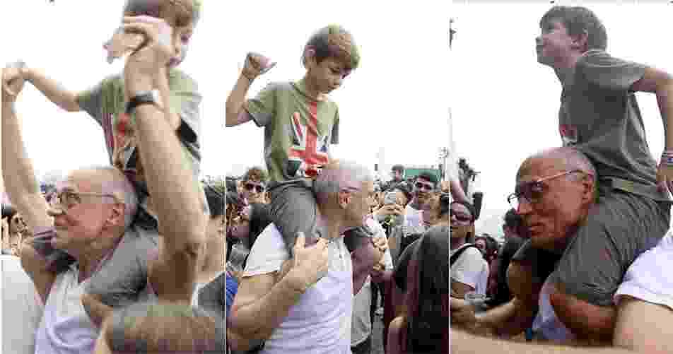 Suplicy ajudou o neto, filho de João Suplicy, assistir ao show do Brothers of Brazil no sábado (25) no Palco Sunset - Graça Paes/Foto Rio News
