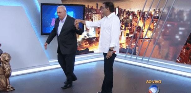 """Marcelo Rezende brinca com Geraldo Luís ao vivo, no """"Cidade Alerta"""" - Reprodução/TV Record"""