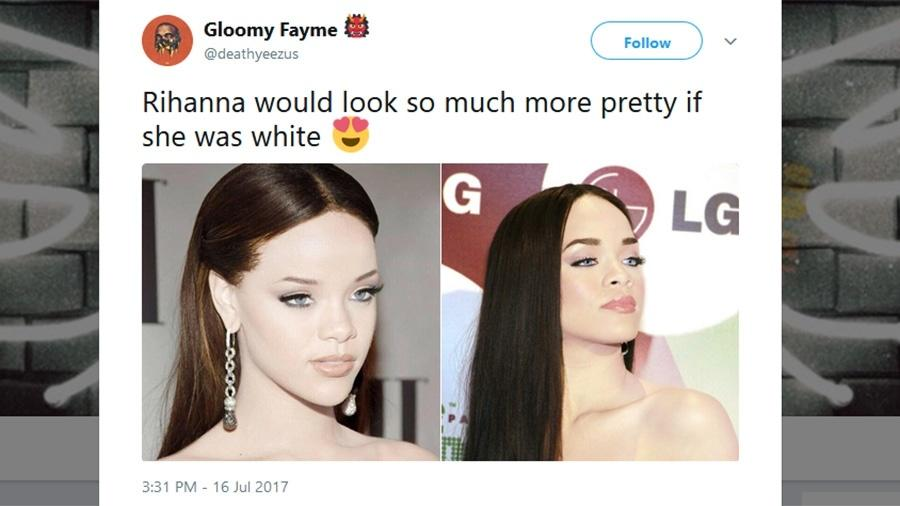Fotos modificadas deixam Rihanna branca e seguidores atacam posts racistas - Reprodução/Twitter