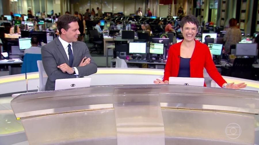 """Sandra Annenberg se declara para Jô Soares no """"Jornal Hoje"""" - Reprodução/TV Globo"""
