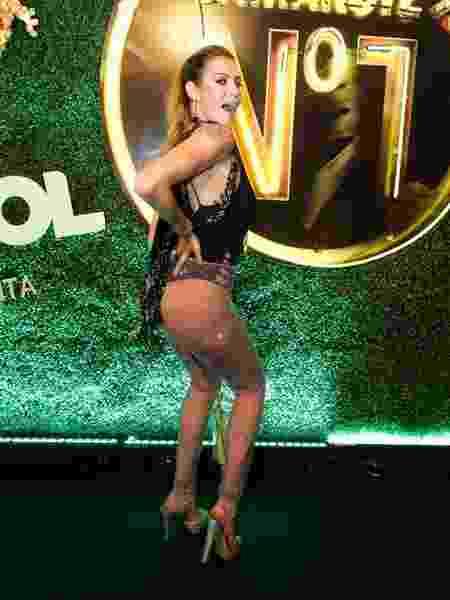 Luana Piovani desce até o chão no camarote CarnaUOL RJ/N1 - Felipe Panfili/Camarote UOL RJ/N1
