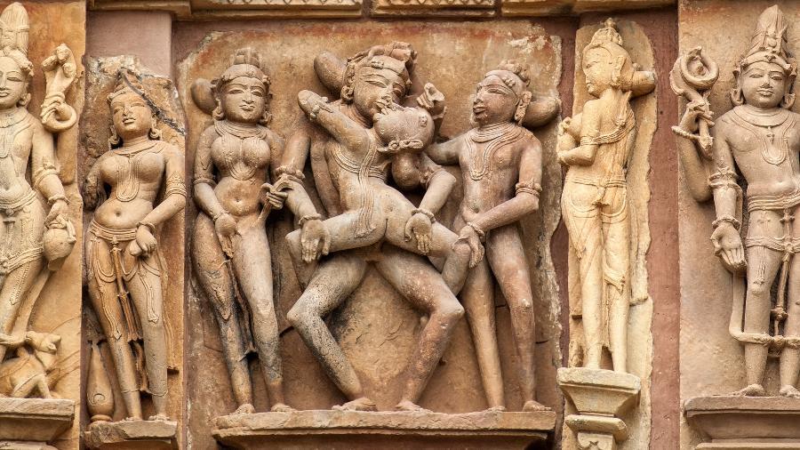 Os templos de Khajuraho, na Índia, estão forrados por esculturas eróticas - Getty Images/iStockphoto