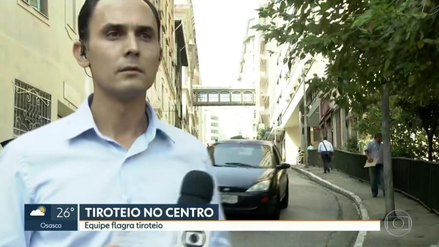 """Repórter Jean Raupp se assusta com tiroteio durante o """"SP1"""", telejornal da Globo - Reprodução/TV Globo"""