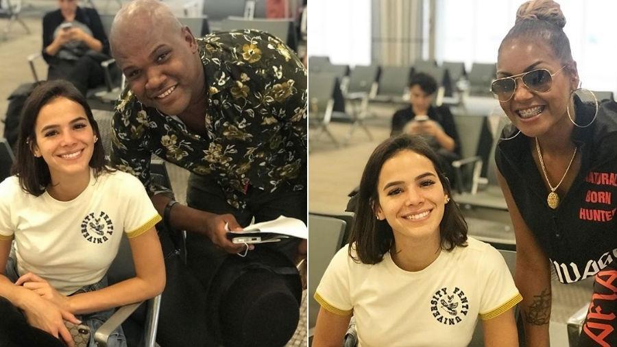 Bruna Marquezine posa com fãs em aeroporto - Reprodução/Instagram