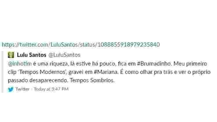 Tuíte de Lulu Santos - Reprodução/Twitter - Reprodução/Twitter