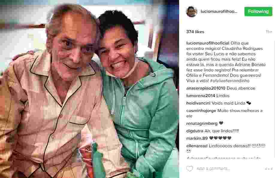08.ago.2016 - Lucio Mauro Filho publicou uma foto de um encontro especial nesta segunda-feira (8), em seu Instagram. A atriz Claudia Rodrigues fez uma visita a seu pai, Lúcio Mauro, que está em tratamento por causa de um derrame sofrido em abril deste ano - Reprodução/Instagram luciomaurofilhooficial