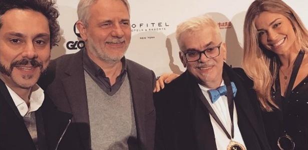 Alexandre Nero, Walcyr Carrasco e Grazi Massafera posam juntos em Nova York antes da cerimônia do Emmy Internacional - Reprodução/Instagram/massafera
