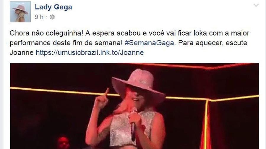 Lady Gaga faz postagem no Facebook com referências a Simone e Simaria - Reprodução/Facebook