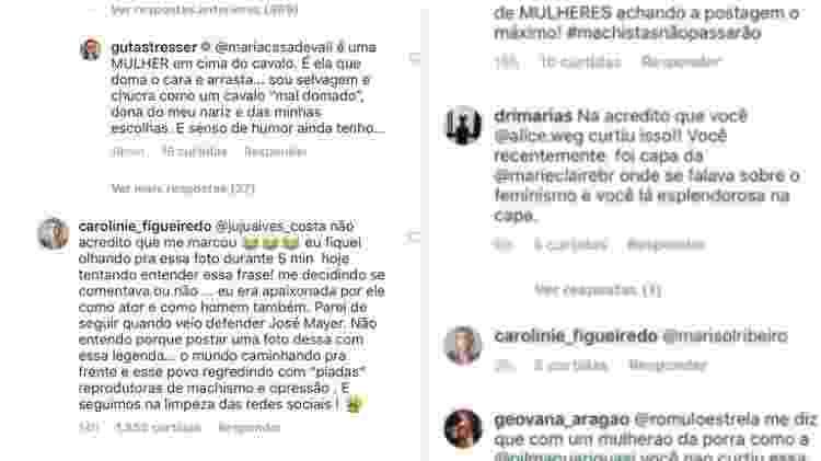 Guta Stresser discorda de Maria Casadevall. Post também foi criticado por Carolinie Figueiredo. Sobrou até para Alice Wegmann e Rômulo Estrela, que curtiram a publicação - Reprodução/Instagram - Reprodução/Instagram