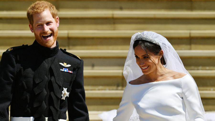 O príncipe Harry e Meghan, duquesa de Sussex em seu casamento - Getty Images