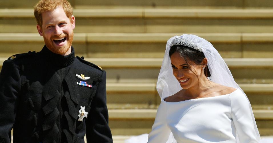 O príncipe Harry e Meghan, duquesa de Sussex em seu casamento