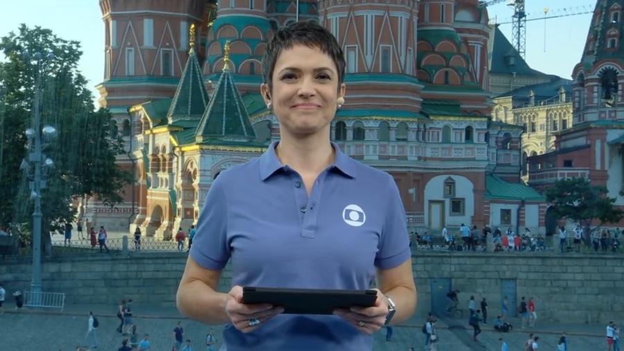 """Sandra Annenberg apresenta o """"Jornal Hoje"""" na Rússia durante a Copa do Mundo - Reprodução/Globo"""