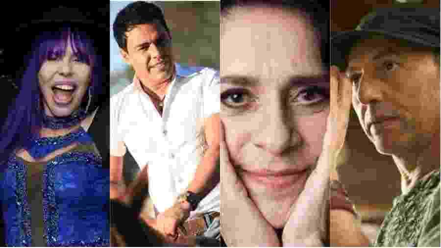 Baby do Brasil, Zezé Di Camargo, Gal Costa e Zeca Baleiro - Montagem UOL