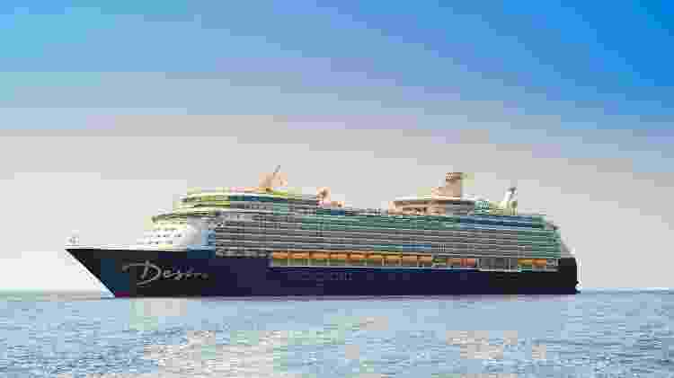 Projeção do navio no qual será realizado o Red Carpet Cruise, em maio de 2020 - Divulgação/Desire Red Carpet Cruise