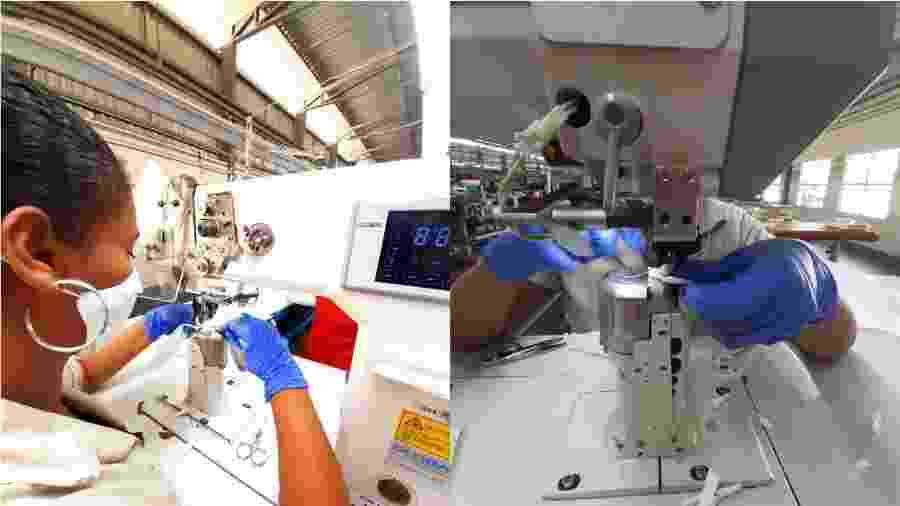 Funcionários se voluntariam a sair da quarentena e utilizar as fábricas que estavam paradas para produzir as máscaras - Divulgação