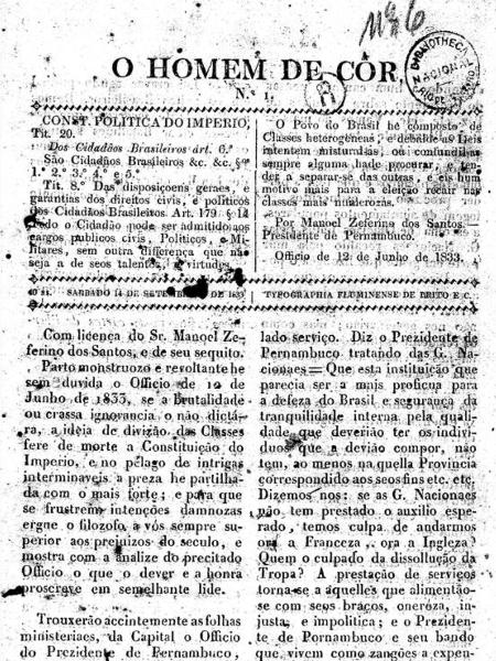 """Página do jornal """"O Homem de Cor"""", fundado por Francisco de Paula Brito, pioneiro da imprensa negra, de 14 de setembro de 1833 - Reprodução / Hemeroteca Biblioteca Nacional"""