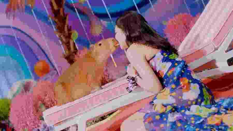 """Jennie, do BLACKPINK, interage com capivara no clipe de """"Ice Cream"""" - Reprodução/Twitter"""