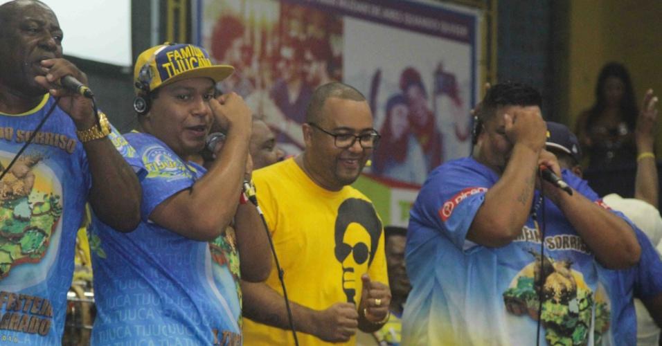 24.jan.2015 - Sambista Dudu Nobre canta na quadra da Unidos da Tijuca