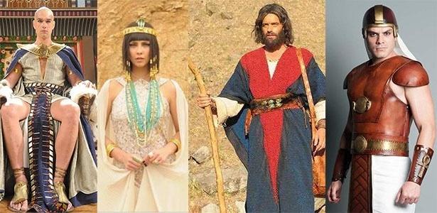 Figurinos de Ramsés (Sérgio Marone), Nefertari (Camila Rodrigues), Moisés (Guilherme Winter) e o soldado Bakennut (Kiko Pissolato) são ideias de fantasias para o Carnaval