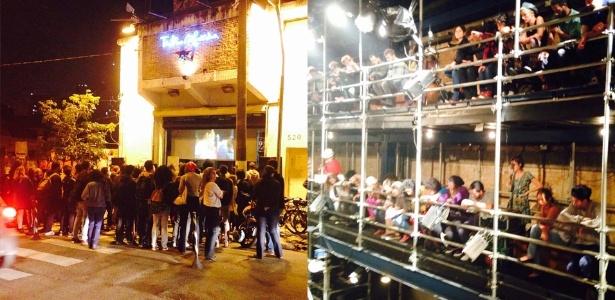 17.mai.2016 - Artistas ocupam o Teatro Oficina em protesto contra a extinção do MinC, mas muitos ficam do lado de fora (esquerda) - Jotabê Medeiros /UOL