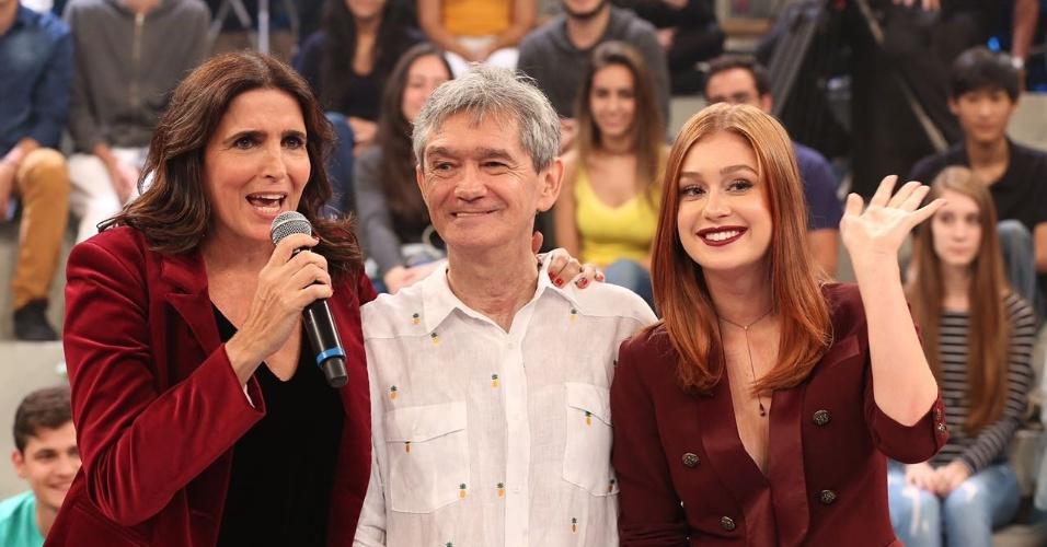 Malu Mader, Serginho Groisman e Marina Ruy Barbosa no