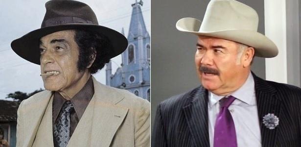 """Paulo Gracindo em """"O Bem-Amado"""" (1973) e Jesús Ochoa em """"El Bienamado"""" - Montagem/UOL"""