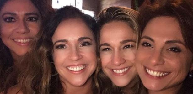 Daniela Mercury e Fernanda Gentil com suas respectivas namoradas no aniversário da apresentadora