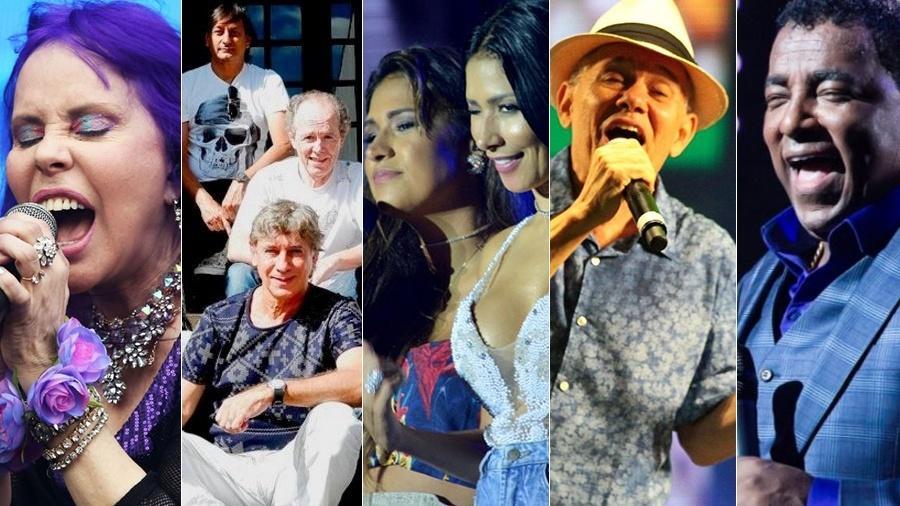 Baby do Brasil, O Encontro Marcado, Villa Mix Festival, Antonio Nóbrega e Raça Negra fazem show - Montagem/UOL