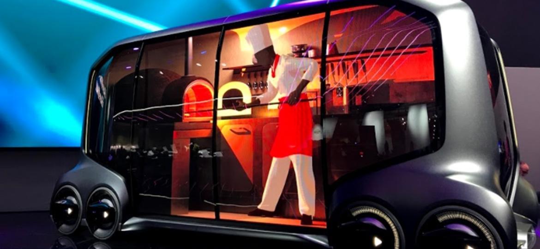 Toyota e-Palette: autônomo de seis rodas, pode entregar só uma pizza ou levar o restaurante todo até você - Ricardo Ribeiro/UOL