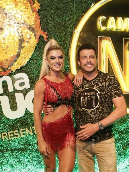 Mirella Santos e Wellington Muniz chegaram juntos ao camarote CarnaUOL RJ/N1 - Gianne Carvalho/UOL