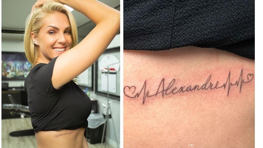 46c1b3bfa28f8 Ana Hickmann faz tatuagem em homenagem ao marido e ao filho