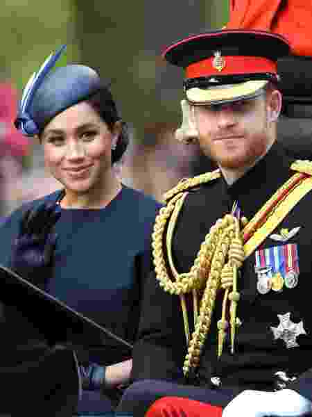 Meghan Markle e príncipe Harry durante o Trooping The Colour 2019 - Karwai Tang/WireImage