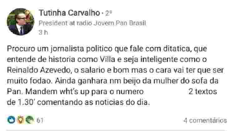 Perfil de Tutinha Carvalho, presidente da rádio Jovem Pan, anuncia vaga para jornalista - Reprodução/LinkedIn