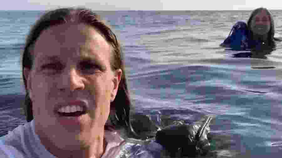 David Lesh em vídeo gravado na água do mar de Half Moon Bay, na Califórnia - Reprodução
