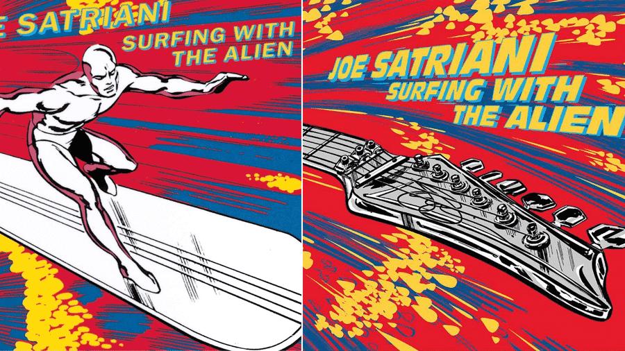 A capa original do disco Surfing With The Alien, com o Surfista Prateado, e a atual, com a guitarra - Divulgação