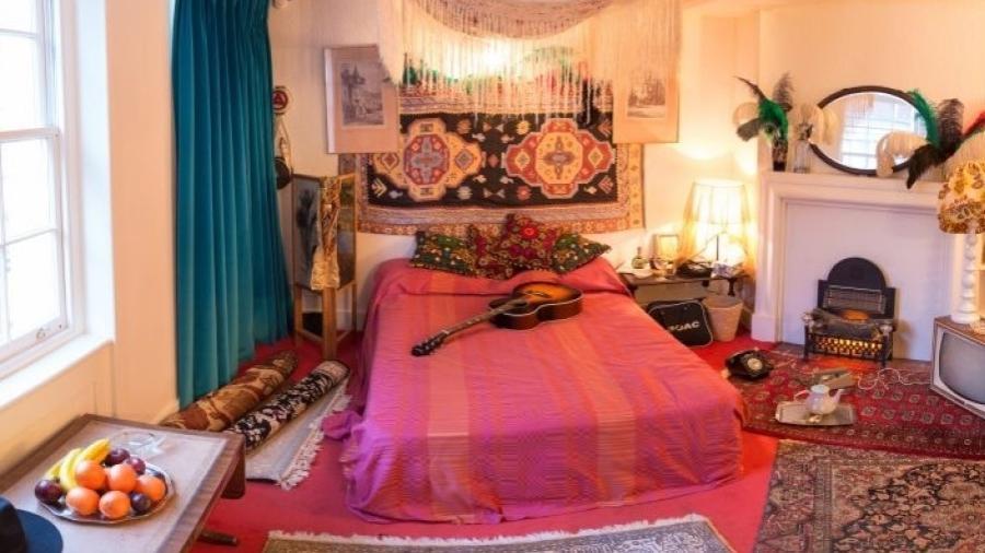 O quarto de Jimi Hendrix e Kathy Etchingham em Londres (Reino Unido) - Reprodução