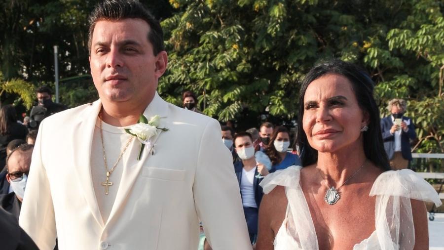 Gretchen e o saxofonista Esdras Souza se casaram em setembro do ano passado - MARCOS RIBAS/BRAZIL NEWS