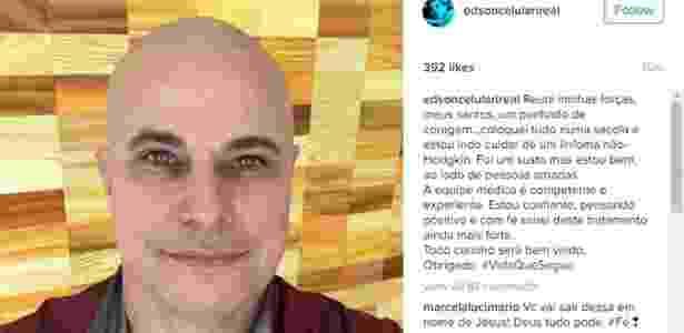 Edson Celulari postou foto careca ao anunciar diagnóstico de câncer - Reprodução/Instagram/edsoncelularireal
