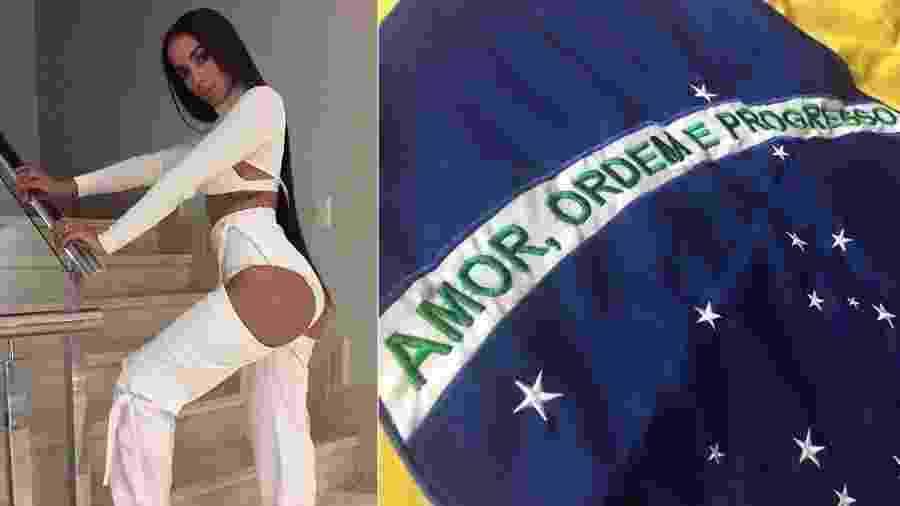 """Anitta sugere tirar """"ordem e progresso"""" da bandeira do Brasil - Montagem/UOL"""