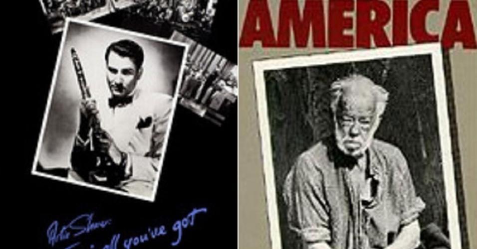 """À esquerda, reprodução do documentário """"Artie Shaw: Time Is All You've Got"""" (1985). À direita, reprodução de """"Down and Out in America"""" (1986)"""