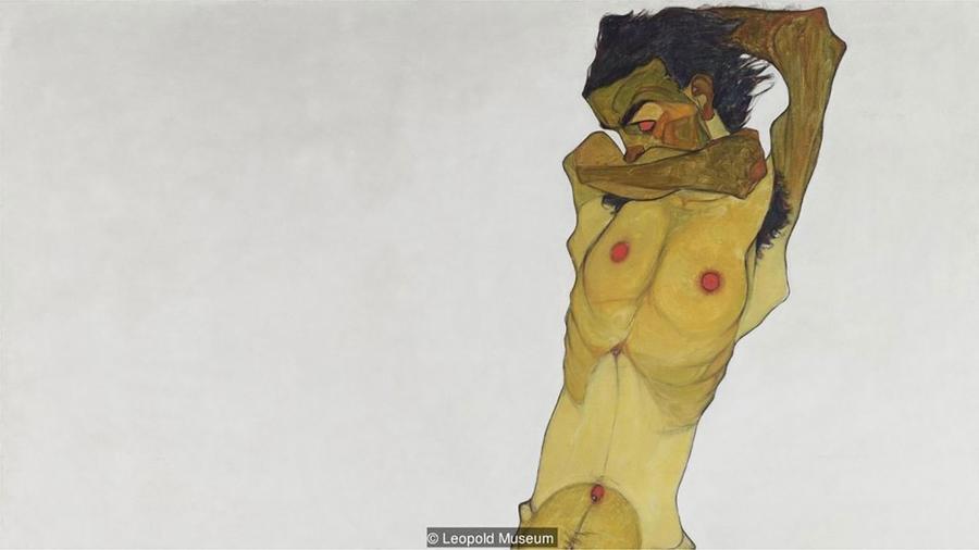 Representação gráfica e grotesca de Schiele de seu próprio corpo nu foi sem precedentes na história da arte - Leopold Museum